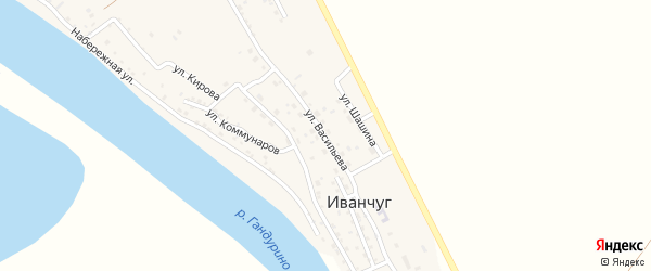Улица Васильева на карте села Иванчуга Астраханской области с номерами домов