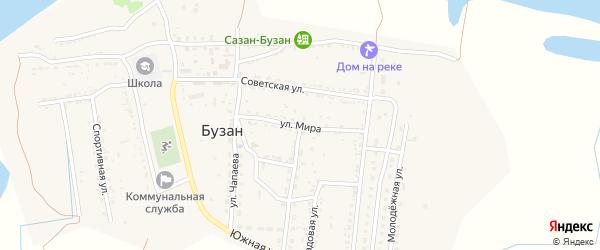 Улица Мира на карте поселка Бузана Астраханской области с номерами домов