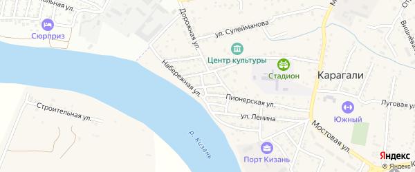 Бакинская улица на карте села Карагали Астраханской области с номерами домов