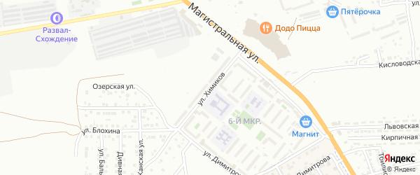 Улица Химиков на карте Астрахани с номерами домов