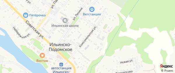 Комсомольская улица на карте Ильинско-Подомского села Архангельской области с номерами домов