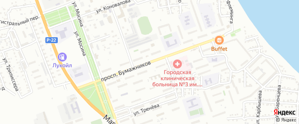 Проспект Бумажников на карте Астрахани с номерами домов