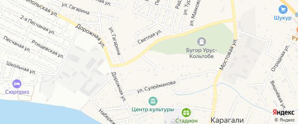 Подгорная улица на карте села Карагали с номерами домов