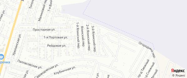 Ялинский 3-й переулок на карте Астрахани с номерами домов