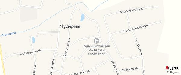 Колхозная улица на карте села Мусирмы Чувашии с номерами домов