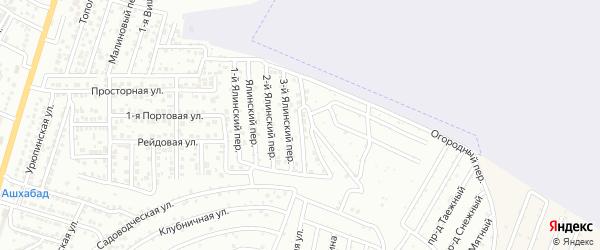 Ялинский 4-й переулок на карте Астрахани с номерами домов