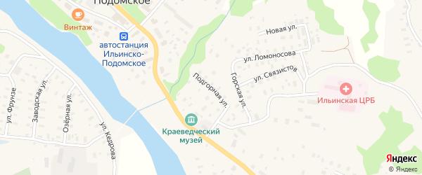 Подгорная улица на карте Ильинско-Подомского села Архангельской области с номерами домов