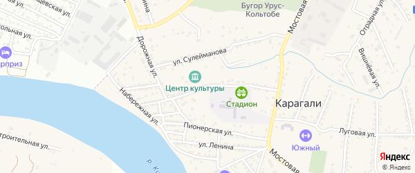 Колхозная улица на карте села Карагали Астраханской области с номерами домов