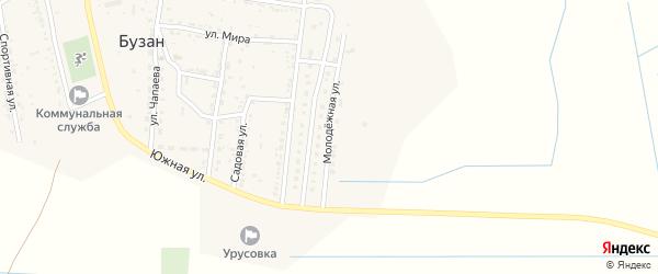 Молодежная улица на карте поселка Бузана Астраханской области с номерами домов