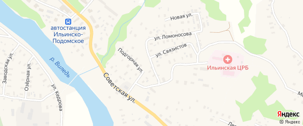 Горская улица на карте Ильинско-Подомского села Архангельской области с номерами домов