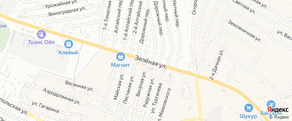 Зеленая улица на карте села Карагали Астраханской области с номерами домов