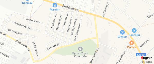 Улица Маяковского на карте села Карагали Астраханской области с номерами домов
