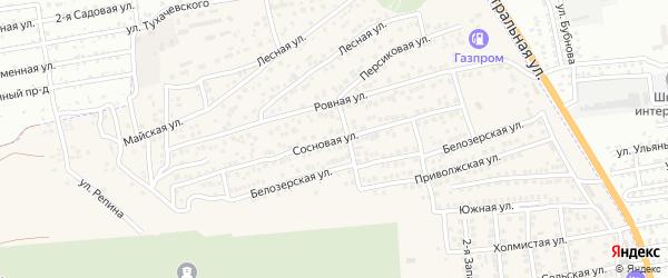 Сосновая улица на карте села Солянки Астраханской области с номерами домов
