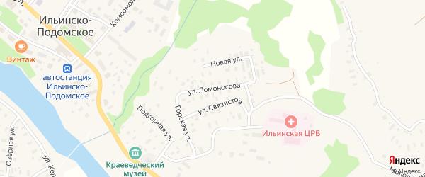 Улица Ломоносова на карте Ильинско-Подомского села Архангельской области с номерами домов