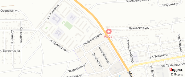 Улица Димитрова на карте села Солянки Астраханской области с номерами домов