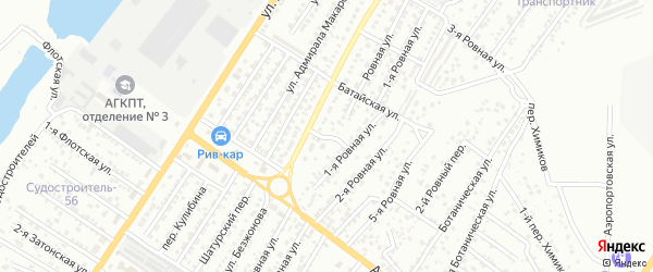 Батайский переулок на карте Астрахани с номерами домов