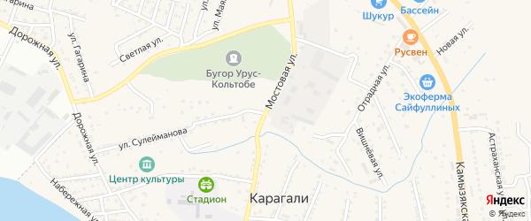 Мостовая улица на карте села Карагали Астраханской области с номерами домов