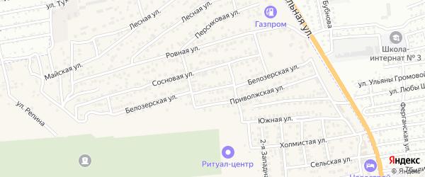 Белозерская улица на карте села Солянки Астраханской области с номерами домов