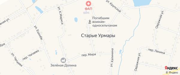 Советская улица на карте деревни Старые Урмары с номерами домов