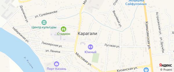 Нижегородский 2-й переулок на карте села Карагали Астраханской области с номерами домов