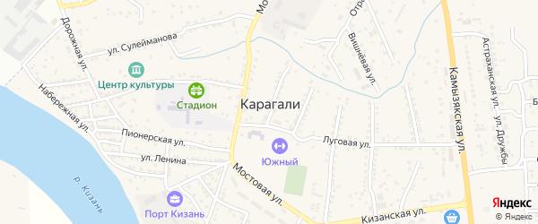 Сиреневая улица на карте села Карагали Астраханской области с номерами домов