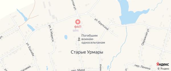 Школьная улица на карте деревни Старые Урмары с номерами домов