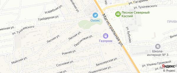 Персиковая улица на карте села Солянки Астраханской области с номерами домов