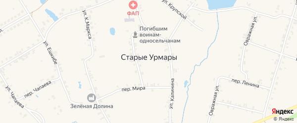 Церковный переулок на карте деревни Старые Урмары с номерами домов