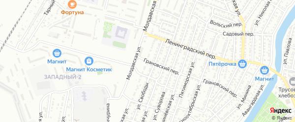 Грановский переулок на карте Астрахани с номерами домов