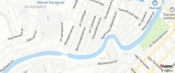 Красный переулок на карте Астрахани с номерами домов