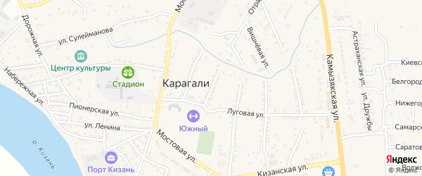 Улица Лермонтова на карте села Карагали Астраханской области с номерами домов