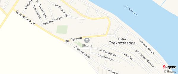 Улица Ленина на карте поселка Стеклозавода Астраханской области с номерами домов