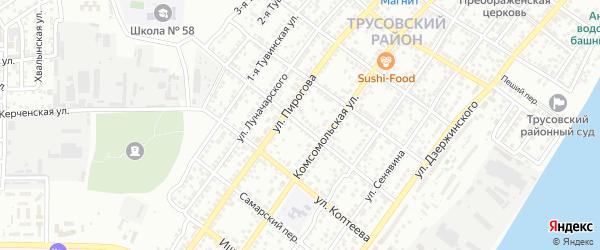 Бакинский переулок на карте Астрахани с номерами домов