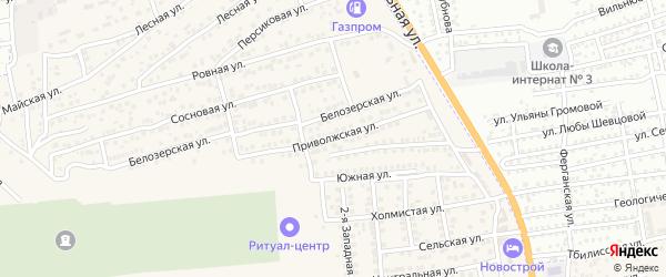 Приволжская улица на карте села Солянки Астраханской области с номерами домов