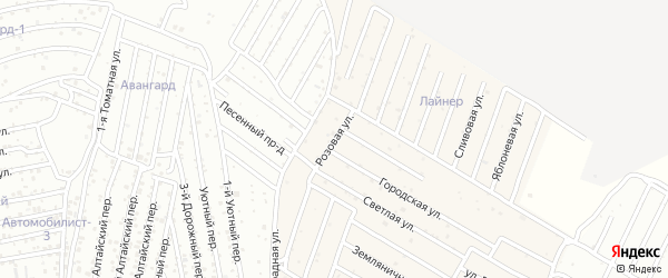 Розовая улица на карте села Карагали Астраханской области с номерами домов