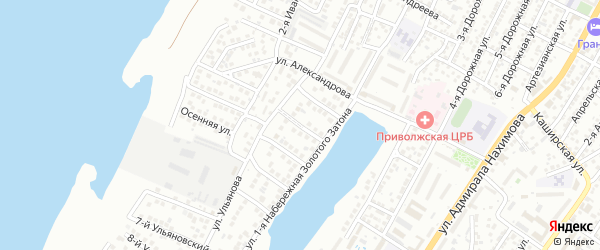 2-й Ульяновский переулок на карте Астрахани с номерами домов