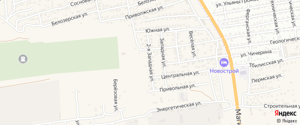 Западная 2-я улица на карте села Солянки Астраханской области с номерами домов