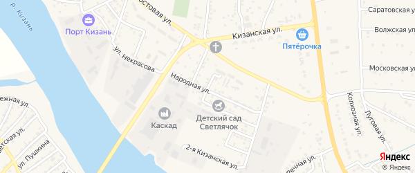 Октябрьская улица на карте села Карагали Астраханской области с номерами домов