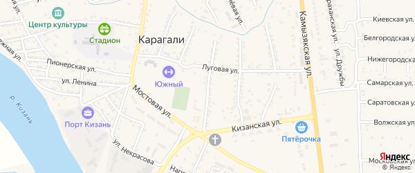 Молодежная улица на карте села Карагали Астраханской области с номерами домов