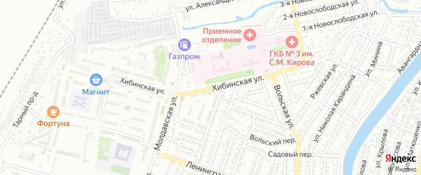 Хибинская улица на карте Астрахани с номерами домов