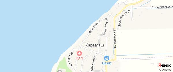 Волжская улица на карте поселка Караагаша Астраханской области с номерами домов