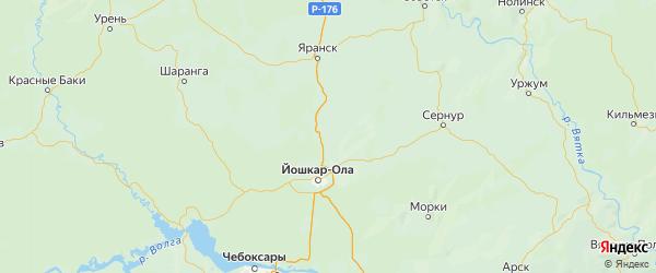 Карта Оршанского района Республики Марий Эл с городами и населенными пунктами