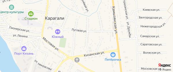 Степная 1-я улица на карте села Карагали Астраханской области с номерами домов