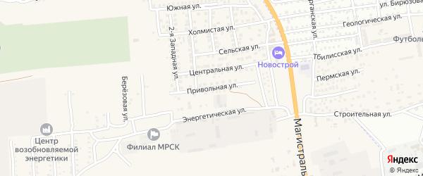 Привольная улица на карте села Солянки Астраханской области с номерами домов