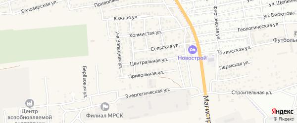 Центральная улица на карте села Солянки Астраханской области с номерами домов