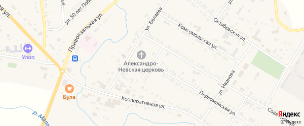 Садовый переулок на карте села Яльчиков с номерами домов