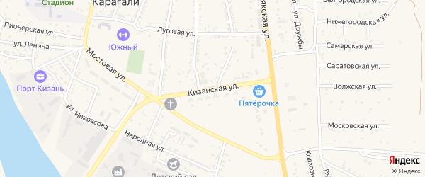 Кизанская улица на карте села Карагали Астраханской области с номерами домов