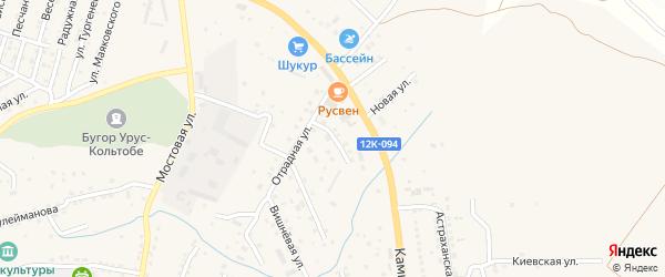 Тенистая улица на карте села Карагали с номерами домов