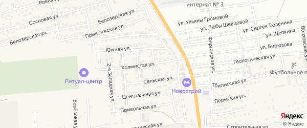 Веселая улица на карте села Солянки Астраханской области с номерами домов