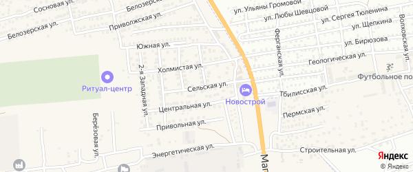 Сельская улица на карте села Солянки Астраханской области с номерами домов
